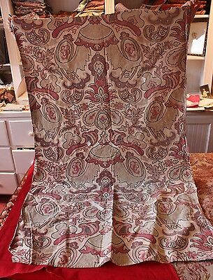 """Old French c1840 Hand Blocked Jacobean Frame Home Fabric Panel~1yd15""""LX31""""W"""
