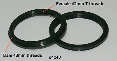 ScopeStuff #4248 Adapter Male 48mm Threads and Female 42mm T-threads