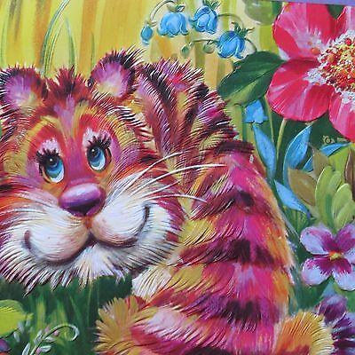 Large 8 x 10 Unsigned Card 1970's Big Eyed Tiger Vivid Colors