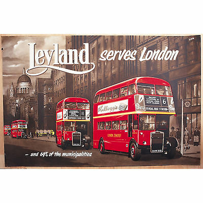 New Leyland London Bus Retro Postcard Official Vintage Image Opie Red Travel