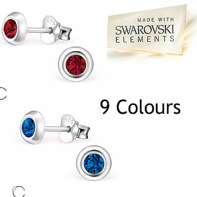 Sterling Silver Round Swarovski® Elements Stud Earrings Gift Boxed