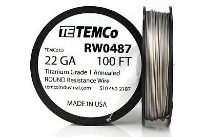 TEMCo Titanium Wire 22 Gauge 100 FT Surgical Grade 1 Resistance AWG ga