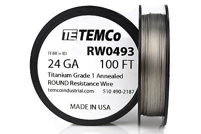 TEMCo Titanium Wire 24 Gauge 100 FT Surgical Grade 1 Resistance AWG ga
