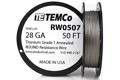 TEMCo Titanium Wire 28 Gauge 50 FT Surgical Grade 1 Resistance AWG ga