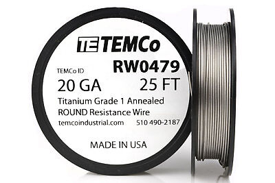 TEMCo Titanium Wire 20 Gauge 25 FT Surgical Grade 1 Resistance AWG ga