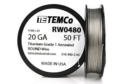 TEMCo Titanium Wire 20 Gauge 50 FT Surgical Grade 1 Resistance AWG ga