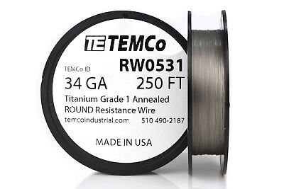 TEMCo Titanium Wire 34 Gauge 250 FT Surgical Grade 1 Resistance AWG ga