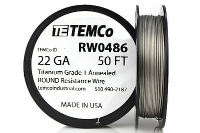 TEMCo Titanium Wire 22 Gauge 50 FT Surgical Grade 1 Resistance AWG ga