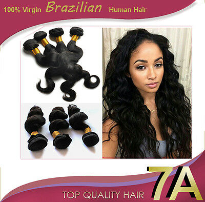 100% Brazilian Real Virgin Remy Human Hair Extensions Wefts 7A Grade Weave UK
