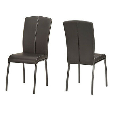 Dining Chairs Faux Leather Set Of 2 Side Kitchen Chair Modern Furniture Black