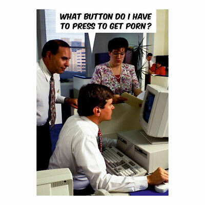 What Button To Get Porn Postcard Retro Funny Birthday Greeting Gift Card Humour