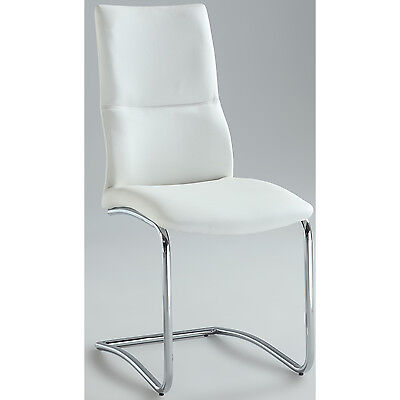 Side Kitchen Chairs Set Of 2 Dining Modern Furniture White Metal Chrome Frame