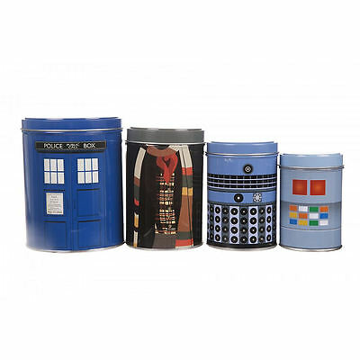 Doctor Who Set Of 4 Tin Canisters Tardis Dalek K9 Dr Tom Baker Kitchen Storage