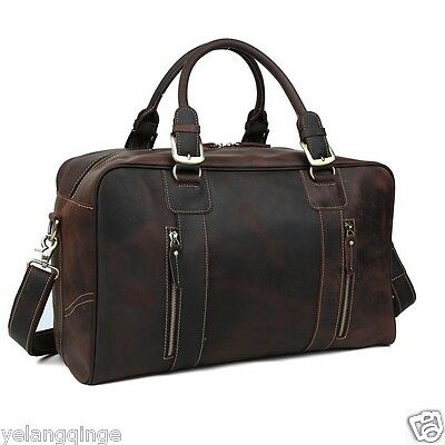 Men Genuine Cowhide Leather Travel Shoulder Tote Luggage Duffle Gym Holdall Bag