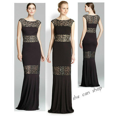 6f3f341c7a2 $568 David Meister Cap Sleeve Sequin Illusion Inset Jersey gown SIZE 10 NWT