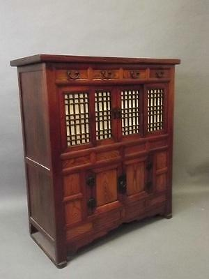 LATE 19TH CENTURY ORIENTAL FRUITWOOD & ELM SIDE CABINET 38'' x 16'' x 43''