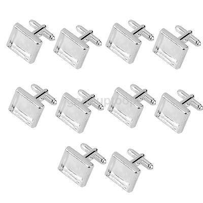 Lot of 10 Square 15mm Cuff Links Blank Settings Base Pad DIY Finding Craft