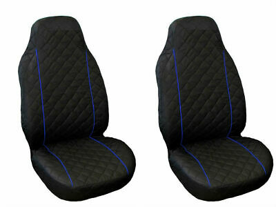 Front Seat Covers for BMW 1 , 3 , 5 series X3, X5 Black with BLUE PIPING
