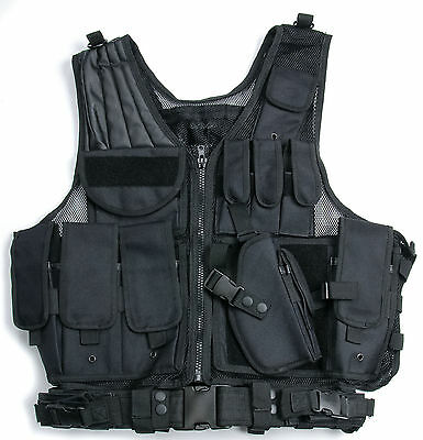 Tactical Airsoft Paintball Hunting Combat Vest With Holster Pouch Black