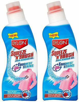 2 x Dylon Squeeze N Brush Clothes Stain Remover With Brush 400ml