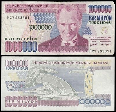 Turkey 1,000,000 (1000000) Million Lira, 1995, P-209, Circulated