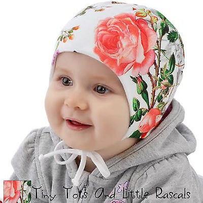 Baby Girls Infant Spring Autumn Cotton Elastic Pink Hat Size 0-12 mths 2-4 years
