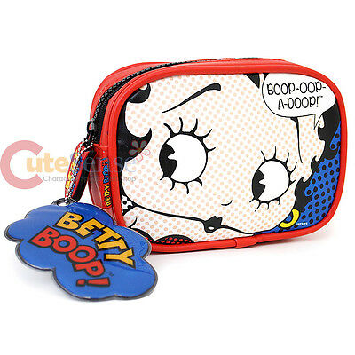 Betty Boop Leather Cosmetic Bag Stationery Mini Pouch Zippered Bag Case