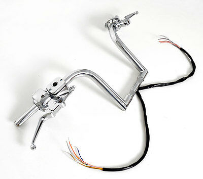 "12"" Frisco Ape Hangers Handlebars Hand Controls Switches Fat 1-1/4"" Bars Harley"
