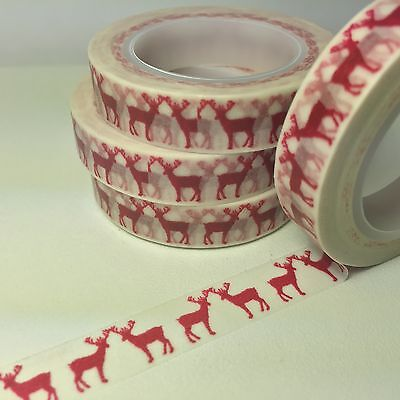 Washi Tape Thin Red Reindeer Christmas 10Mm X 10Mt Scrap Planner Craft Mail Art