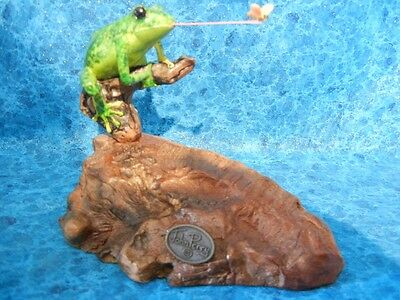 Frog Catching Fly Sculpture - Signed John Perry Statue - Beautiful Art - Look