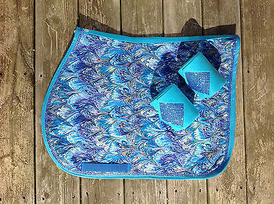 Peacock Feather Blues Custom English Saddle Pad  Matching Polo Wraps and Bling