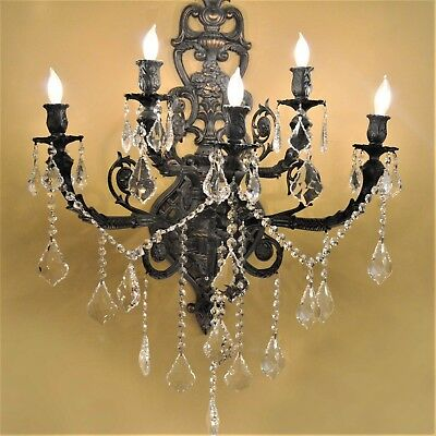 """Versailles 5 Light Flemish Brass Crystal Ornate Wall Sconce 19"""" W x 32"""" H Large"""