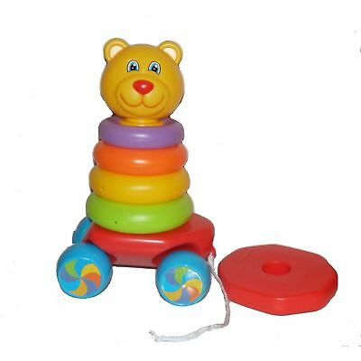 Fun Time Pull Along Teddy Stacker Stacking Rings 2 in 1 Rocking 9m+