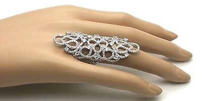 Women Genuine Solid 925 Sterling Silver 4 Ct CZ Cubic Cocktail Long Finger Ring