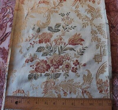 "Antique French Floral & Ribbon Silk Brocade Home Fabric c1870-1880~30""L X 12""W"