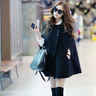 New Korean Winter Lady Women Warm Wool Cloak Coat Overcoat Outwear Black