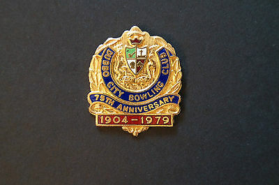 Collectable - Dubbo City Bowling Club - Members Badge - 75th Anniversary 1904-79