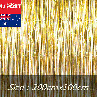 Gold Metallic Tinsel Curtain Foil Party Christmas Door Decoration Shiny String