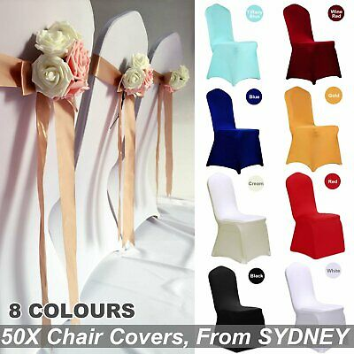 50X Chair Cover Covers Spandex Lycra Stretch Banquet Wedding Party White Black C