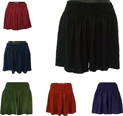 LADIES CASUAL WOMENS ELASTIC WAIST BEACH SHORTS sizes 8 10 12 14 16 18 20 22