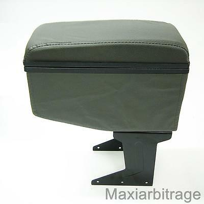 Universal Armrest Centre Console Grey Faux Leather Cup Holder Soft Cushion