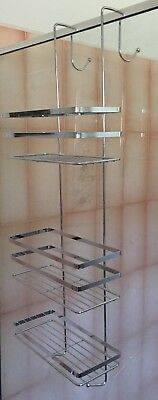 3 Tier Over Shower Screen Caddy Bathroom Door Rack Chrome Steel Shelf 78.5cm (L)