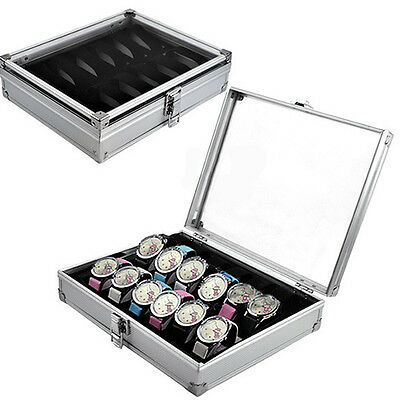 New 12 Grid Jewelry Wrist Watches Display Collection Box Case Aluminium Square