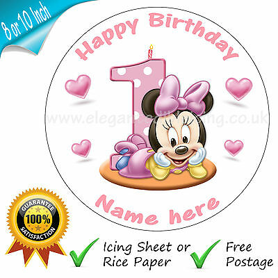 Baby Minnie Mouse 1St Birthday Cake Personalised Edible Round Cake Topper