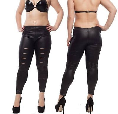 SeXy Damen Wetlook Risse Stretch LeGGings Glanz Lack Leder JeGGings Hose TreGGin