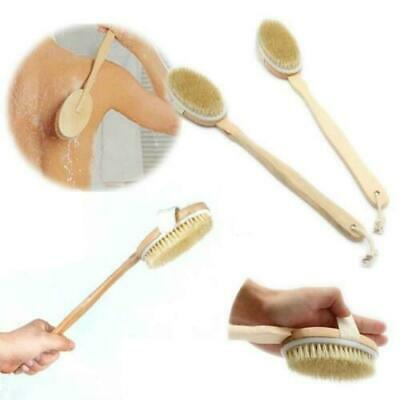 Long Wooden Handle Shower/Bath Loofah cleansing Exfoliating round Brush