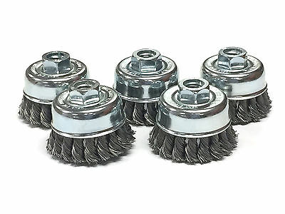 """2-3/4"""" Dia Knot Style Cup Brush - Stainless Steel Wire - 5 Pack"""