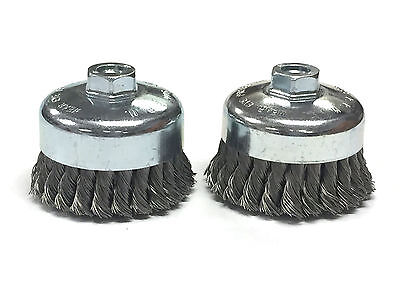 "4"" Dia Knot Style Cup Brush - Carbon Steel Wire - 2 Pack"