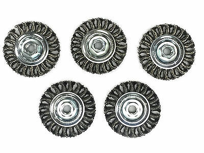 "4"" Knot Wheel Wire Brush - Carbon Steel Wire - 5 Pack"