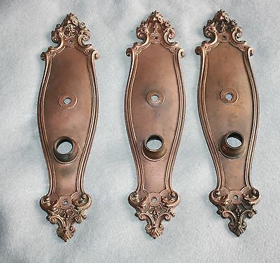Antique Victorian Style Brass Door Knob Back Plates (3) Stamped Y&T
